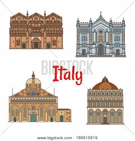 Italian travel landmark icon set of roman catholic churches. Reggio Calabria Cathedral, Ferrara Cathedral, Pontifical Basilica of Saint Anthony, Pisa Baptistery thin line symbols for travel design