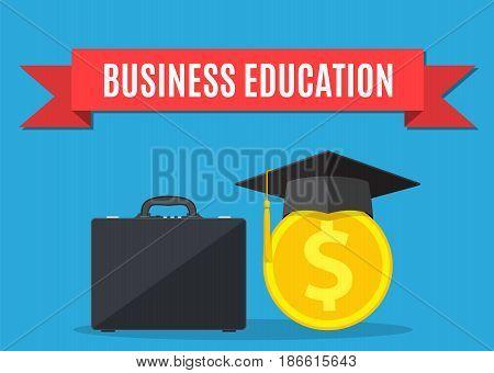 business briefcase, graduation cap, gold coins . business graduation concept. illustration in flat style