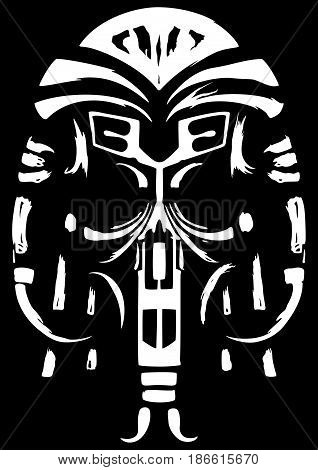 Symbolic illustration a skull or a shaman's mask. Black and white