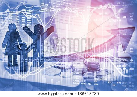 Double Exposure Business Props On Stock Financial Growth. Economy Return Earning Concept. Stock Mark