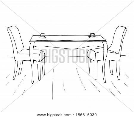 A table and two chairs. On the table are two cups. Vector illustration. Hand drawn.