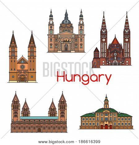 Tourist sight of Hungary thin line icon set. Szeged town hall, Votive Church and Cathedral of Our Lady of Hungary, St. Stephen Basilica, Roman Catholic Diocese, St. Peter and Paul Cathedral Basilica