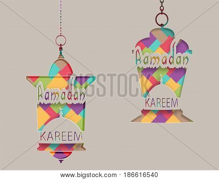 Ramadan Kareem inscription on the lanterns in oriental style. Greeting card. Cut out of paper on a gray background. Vector illustration