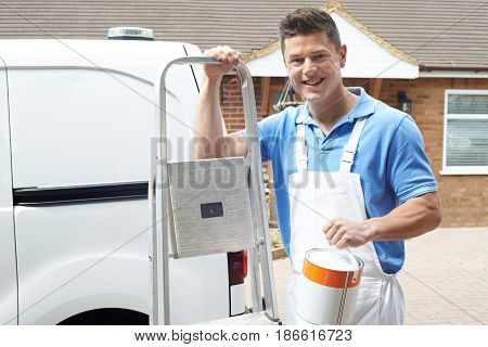 Portrait Of Decorator Standing Outside Domestic Home