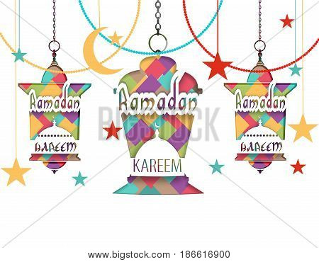 Ramadan Kareem The inscription. Mosaic, stars, month. Three lanterns in oriental style hang on chains. Cut out the paper on a white background. Vector illustration