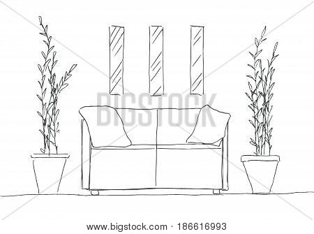 Part of the room. Sofa plants in pots and a picture on the wall. Hand drawn sketch. Vector illustration.