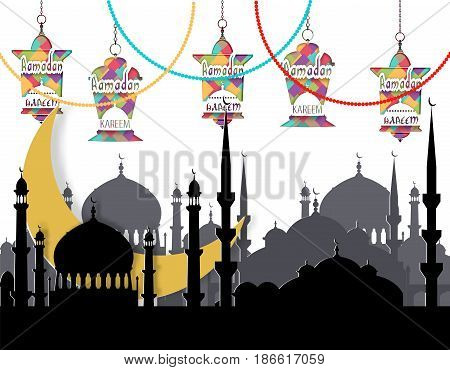 Ramadan Kareem. Greeting card. Stylized drawing of the month, the silhouette of the eastern city and lanterns on the chains. Cut out of paper. Vector illustration