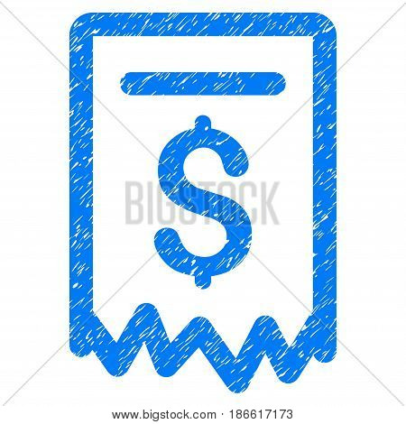 Grunge Payment Receipt icon with grunge design and scratched texture. Unclean vector blue pictogram for rubber seal stamp imitations and watermarks. Draft sign symbol.