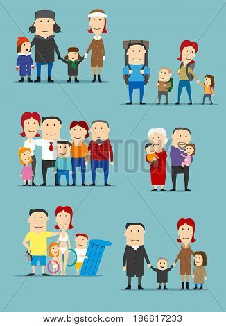 Family cartoon characters set. Big family standing together with father, mother, son, daughter, grandmother and grandfather, going on walk, hiking with backpacks, grandparents with grandkids on hands