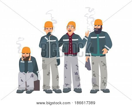 Smoking place. Builders on smoke break. Mans in a working form with cigarettes. Vector illustration in flat style
