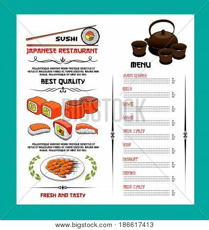 Sushi menu of japanese cuisine restaurant. Menu template with list of seafood dishes, sushi, roll, soup, dessert and drinks with salmon and tuna sushi, chopsticks, shrimp tempura and tea set symbols