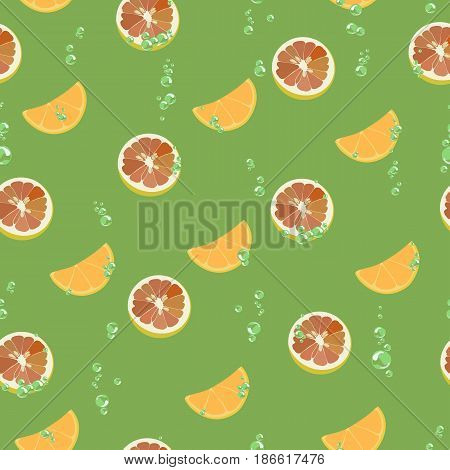 Seamless pattern with a color vector image of orange slices, grapefruit and air bubbles on a green background. Suitable for wallpaper, wrapping paper food, tissue.