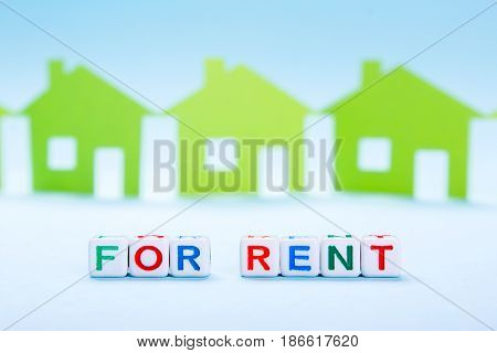 For rent house is written in letters