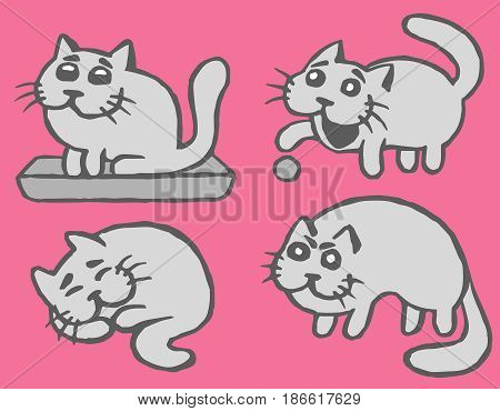 Cute Grey Cats Emoticons Set. Funny Cartoon Cool Character. Contour Freehand Digital Drawing Cats. Pink Color Background. Cheerful Pet Collection for Web Icons and Shirt. Isolated Vector Illustration.