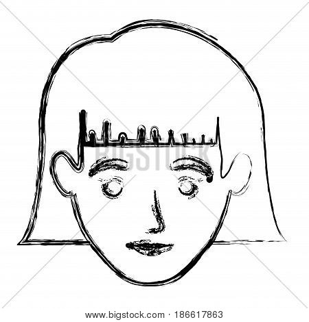 monochrome blurred silhouette of smiling woman face with short hair with bangs vector illustration