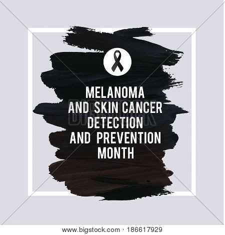 SKIN CANCER AND MELANOMA AWARENESS MONTH. Black stroke and text. Medical design element. Grunge texture.
