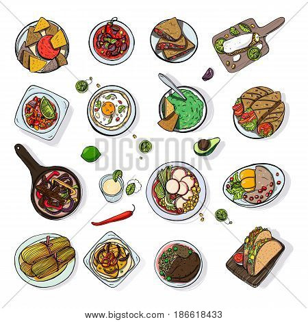 Set of mexican traditional food. Different dishes collection spicy bean soup chili, nachos, tortilla, fachitos, quesadilla, taco, guacamole. Hand drawn sketch, colorful vector illustration