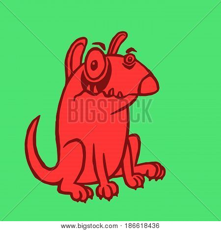Cartoon red dog. Funny cartoon fur cool character bull terrier. Contour freehand digital drawing cute dog. Green color background. Pet secure for web icons and shirts. Isolated vector illustration.