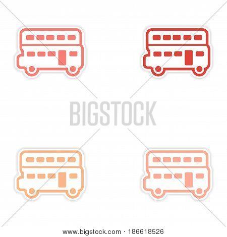 Set of stickers British double-decker bus on white background
