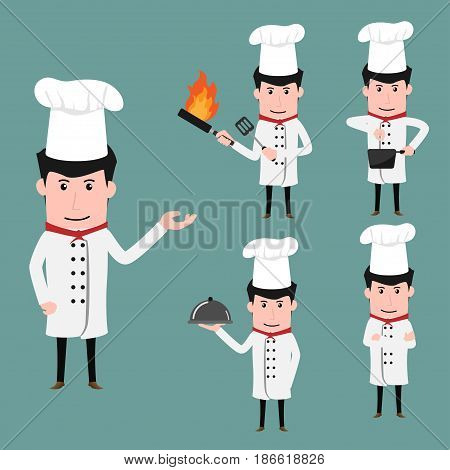 Funny chef cartoon characters in various poses with cookware cooking cartoon chef collection vector illustration.