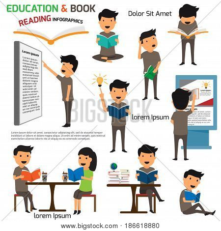 Read and Education infographics elements. Activities in reading a book with education concept vector illustration.