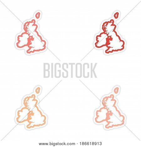 Set of stickers map Britain on white background