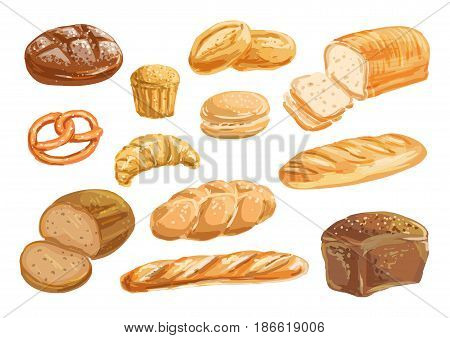 Bread, bakery product watercolor drawing set. Fresh loaf of bread, baguette, croissant, cupcake, toast, burger and sweet bun, pretzel and challah. Natural organic bread, bakery shop design
