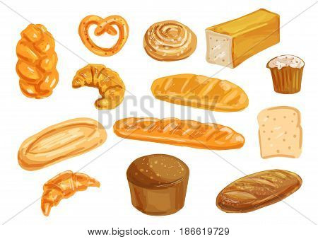 Bread and bun watercolor set. Wheat and rye bread, french baguette and croissant, cupcake, sweet bun, cinnamon roll, toast and italian ciabatta. Bakery product hand drawn illustration for food design