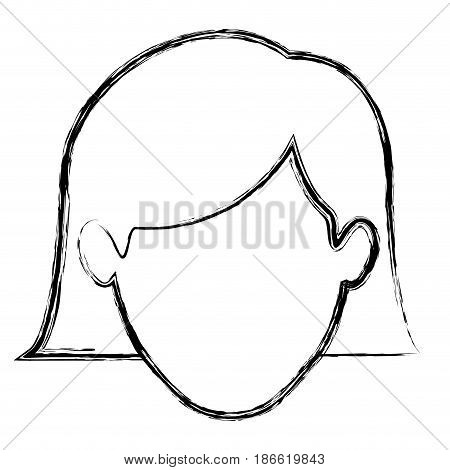 monochrome blurred silhouette of faceless woman with the hair down to the neckline vector illustration