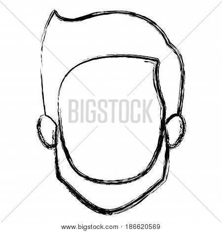 monochrome blurred silhouette of faceless young man with short hair and beard and without moustache vector illustration