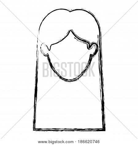 monochrome blurred silhouette of faceless woman with straight long hair vector illustration