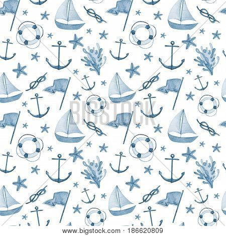 Watercolor hand drawn isolated on white seamless pattern with anchor, dolphin, knot, seagull, life-buoy sea star. Blue hand drawn repeated image for your design