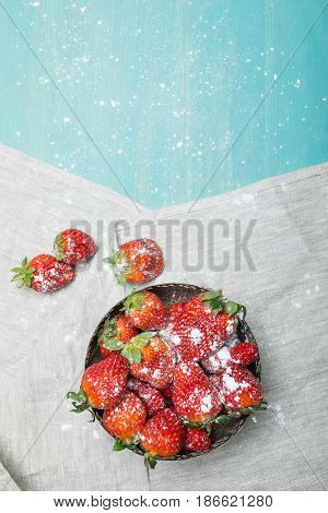 Fresh Red Strawberries With Powdered Sugar On Ceramic Plate On Wooden Tabletop, Berries Background C