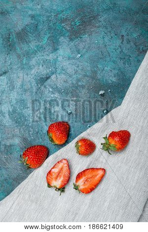 Whole And Sliced Fresh Red Strawberries On Linen Napkin With Copy Space, Berries Background Concept