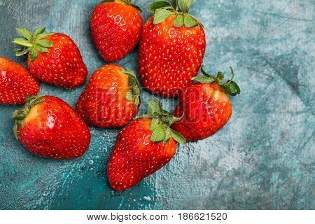 Top View Of Whole Ripe Red Strawberries On Tabletop, Berries Top View Concept