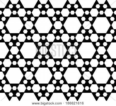 Vector monochrome texture, black & white geometric seamless pattern with different sized hexagons, repeat hexagonal grid. Simple abstract backdrop for tileable print, decor, textile, fabric, cloth, digital, web