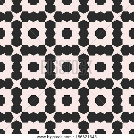 Vector seamless texture, deco art pattern. Monochrome illustration with simple geometric shapes. Abstract background, repeat tiles. Design element for prints, decor, furniture, textile, fabric, cloth