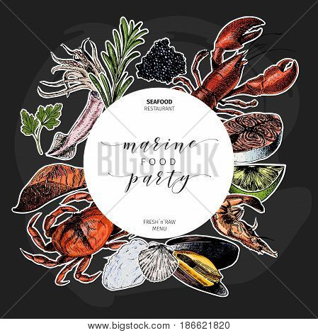 Vector hand drawn seafood banner.colored Lobster salmon crab shrimp octopus squid clams.Engraved art. Sticker style. Round border template. Delicious menu objects restaurant promotion market store flyer