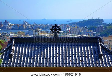 Temple Roof And Kaohsiung Port