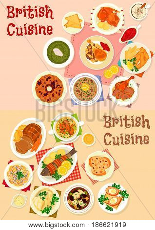British cuisine lunch icon set of baked meat and fish with bacon, fruit and mint sauce, scotch egg in sausage meat, fish and chip, potato salad, soup with kidney, prune and sorrel, fruit pudding