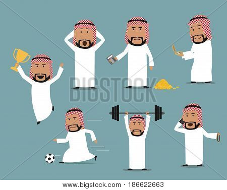 Arab businessman in different poses set. Saudi arabian man talking by mobile phone, playing football, searching success with compass, standing with money and calculator, winner trophy cup and barbell