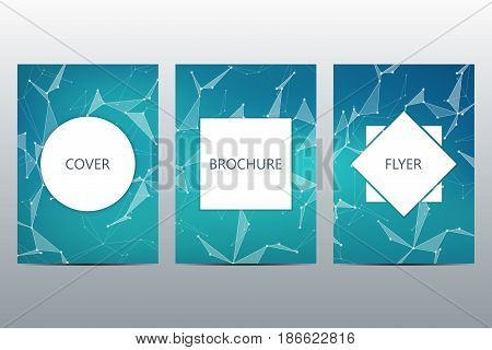 Brochure template layout, flyer, cover, annual report, magazine in A4 size. Structure of molecular particles and atom. Polygonal abstract background. Vector illustration.