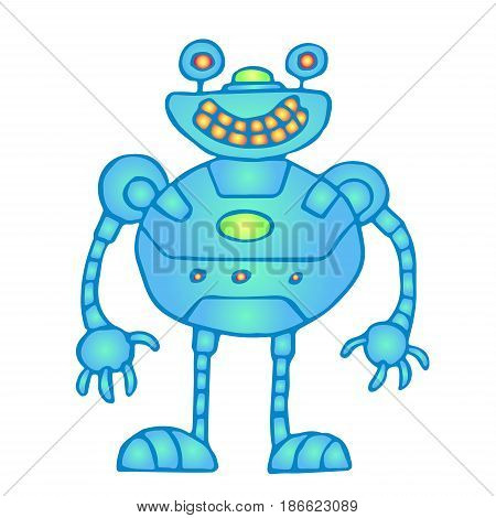 Cheerful globular blue robot vector illustration. Original cartoon retro character.