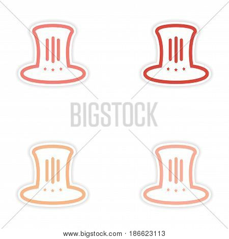 Set of stickers hat Lincoln on white background