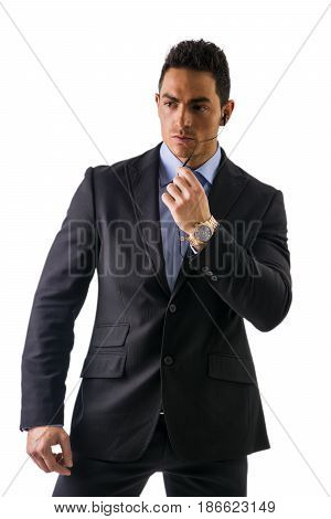 Elegant man dressed as a spy or secret agent or security staff with earphones, isolated on white