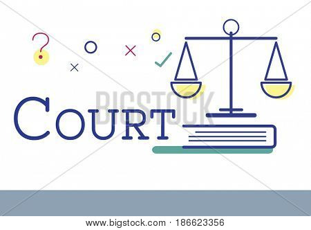 Graphic scale icon with court justice word