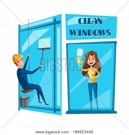Window cleaning icon set. Window cleaner in uniform cleaning office window with squeegee and woman washing house window with spray and sponge. Housekeeping service and household chore design