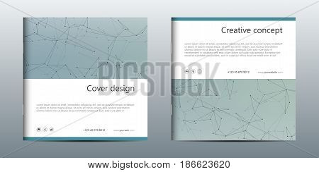 Square brochure template with structure of molecular particles and atom. Polygonal abstract background. Medicine, science and technology concept. Vector illustration.