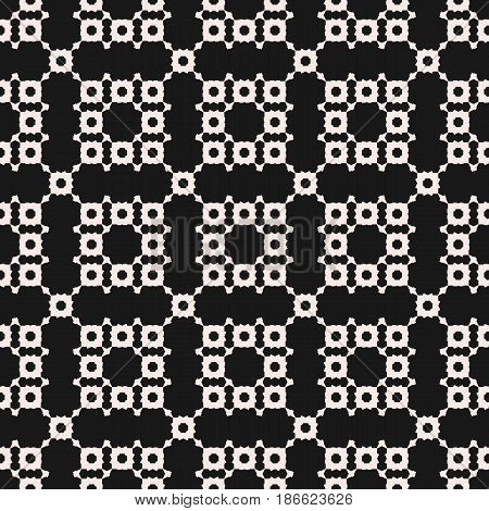Vector monochrome geometric texture. Ornamental seamless pattern with square figures, floral silhouettes, repeat tiles. Abstract dark mosaic background. Design element for prints, covers, wrapping, fabric, textile
