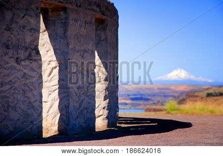 Maryhill Stonehenge with Mount Hood in the background
